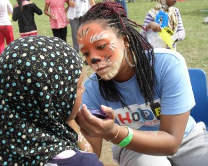 Face painting on a fun day