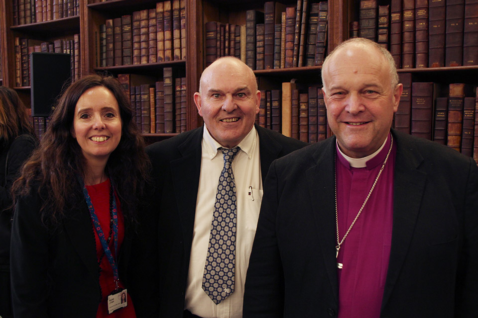 Dr Rachel Jordan Wolf, Roy Crowne and the Bishop of Basingstoke, David Williams